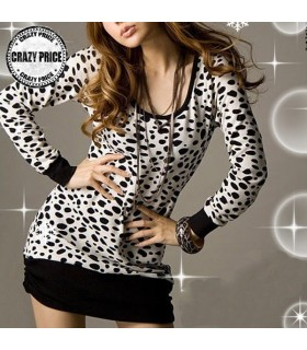 Bowknot back dalmatian long sleeve dress