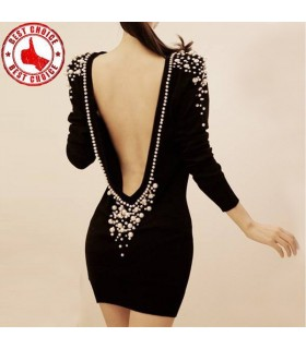 Beaded pearls black empty back sexy dress