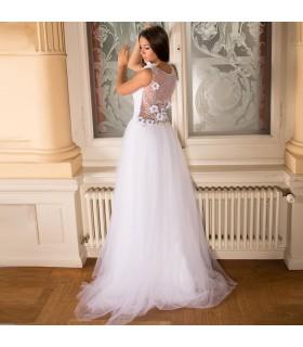 Tulle Kristall Perlen Aktrückseite sexy Hochzeitskleid