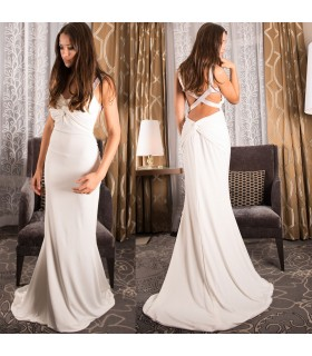 Sexy open back tide wedding dress