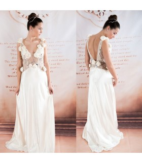 Champagne chiffon crystal beads sexy wedding dress