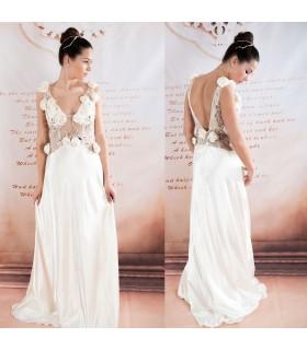 Champagne cristal en mousseline de soie perles robe de mariée sexy