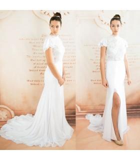 Weiches romantisches Spitzen sexy Brautkleid