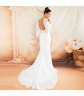 Langer Ärmel rückenfreies erotisches Hochzeitskleid