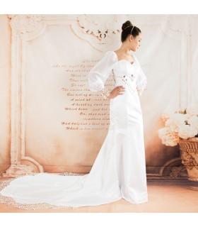 Lange Ärmel Stickerei sexy Hochzeitskleid