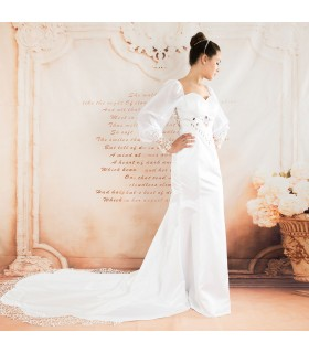 Long sleeve embrodery sexy wedding dress