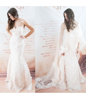 Sheer cape ivory sexy wedding dress