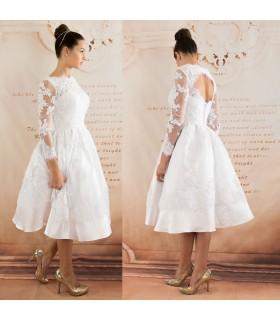 Élégant court manchon long robe de mariée sexy