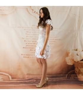 Fleur d'applications spéciale courte robe de mariée sexy