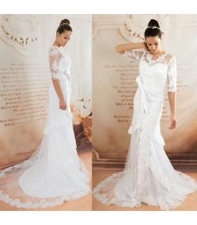 Robe de mariée sexy dentelle vintage longueur moyenne manches jambe ouverte