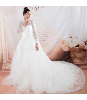 Langarm königliche Prinzessin sexy Hochzeitskleid