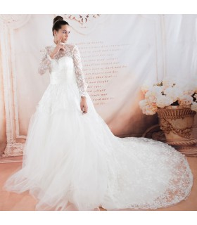 Long sleeve royal princess sexy wedding dress
