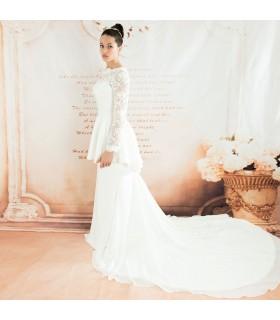 Scoop caricati peplum mermaid sexy abito da sposa