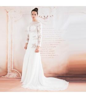 Francesi maniche lunghe in pizzo sexy abito da sposa