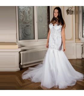 Fantastische super sexy rückenfrei Spitze und Tüll Brautkleid