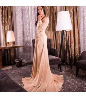 Manches longues en mousseline de soie ivoire cristal robe de mariée sexy