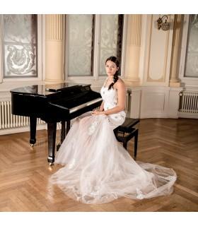Una spalla lace applique sexy abito da sposa