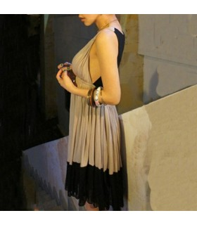 Sexy backless pleated dress