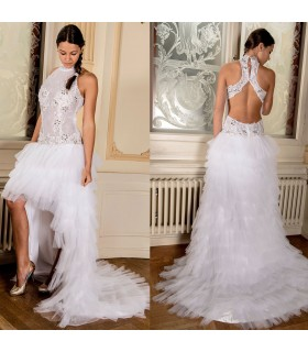 Halter tombola tulle avant court long robe de mariée sexy