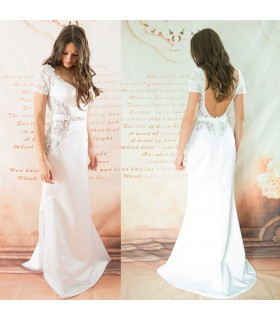 Vintage sheat open back sexy wedding dress