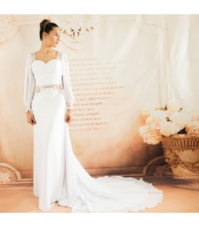 Long sleeve special lace sexy wedding dress