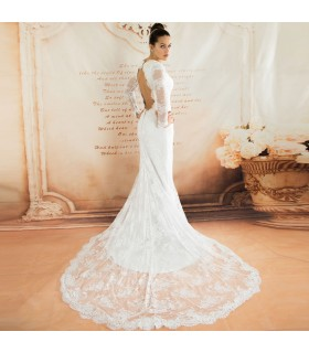 Eleganza francese manica lunga sexy abito da sposa