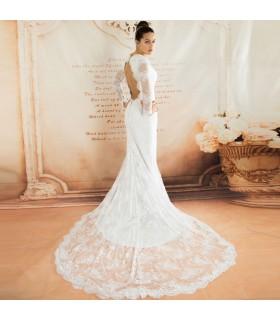 Französischer schicker langer Ärmel erotisches Hochzeitskleid