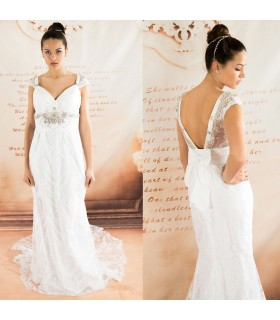 French lace romantic sexy wedding dress