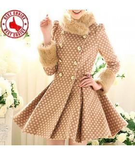 Dot printed sweet style fur collar coat