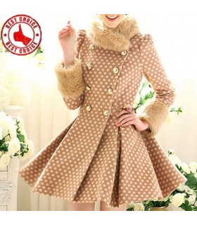 Point imprimé manteau col de fourrure de style doux