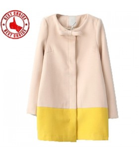 Fashionable bowknot yellow and pink coat