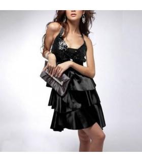 Schwarzes Schleifen-Pailetten-Kleid