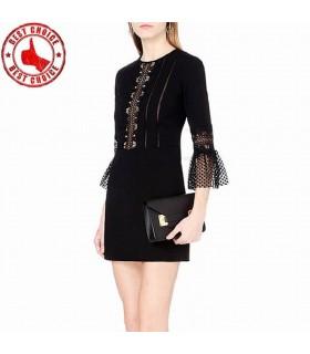 Longue pochette noire bodycon robe