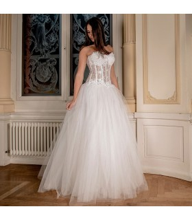Robe de mariée sexy corset transparent style princesse ivoire