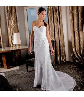 Spaghetti longueur de plancher sans manches dentelle d'été gaine robe de mariée