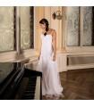 Douce dentelle perlée en mousseline de soie robe de mariée super sexy