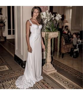 Sexy abito da sposa  scollato pizzo impreziosito