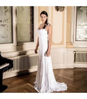 Robe de mariée sexy en mousseline de soie appliques dentelle impressionnant