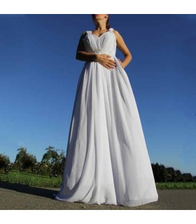Mousseline de soie gaine robe de mariée simple