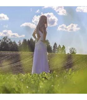 Tiefe V-Schnitt wieder satin Spitze Brautkleid