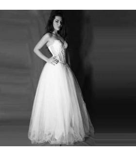 Robe de mariée sexy corset transparent blanc cristaux