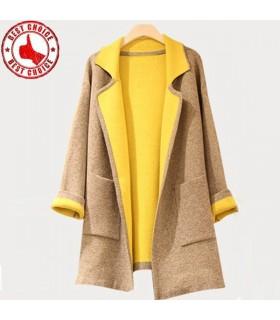 Cappotto di lana giallo blocco colore