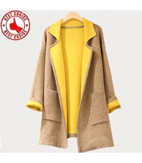 Color block yellow wool coat