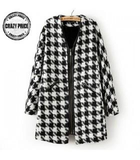 Manteau à glissière blanc et noir
