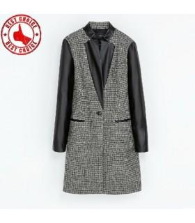 Elegante PU maniche cappotto lungo nero