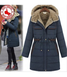 Stylish pocket warm navy hooded coat