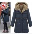 Stylish pocket warm navy hooded coat