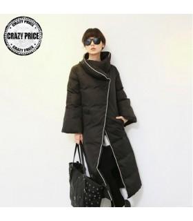 Moda super lungo nero cappotto