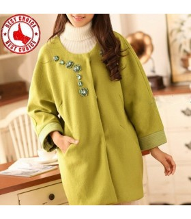 Stylish rhinestone apple green coat