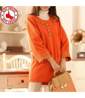 Stylish rhinestone orange coat